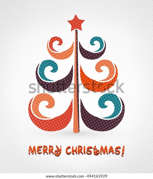 Colorful Merry Christmas Card Christmas Tree Stock Vector