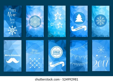 Colorful Merry Christmas flyer. Posters set. Template for Greeting, Congratulations, Invitations. Postcard, invitation.