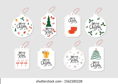 Colorful Merry Christmas labels with Christmas elements and hand drawn letters. Usable as greeting card, gift package, stickers