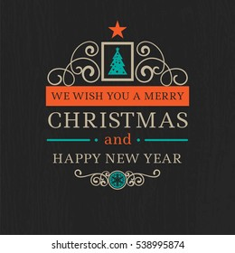 Colorful Merry Christmas vector modern badges with happy new year wishes on black chalkboard wooden background for christmas holidays design projects, for backdrops, booklets, book cover, background
