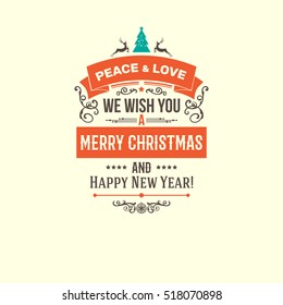 Colorful Merry Christmas vector retro vintage badges . Wishes of happy holidays with decoration elements for design projects
