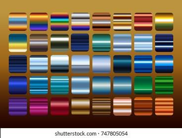 Colorful Metal color gradation set, gradient illustration.