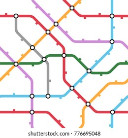 Colorful metro scheme, railway transport or city bus map on white background. Abstract seamless vector pattern.