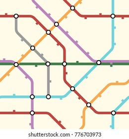 Colorful metro scheme, railway transport or city bus map on light yellow background. Abstract seamless vector pattern.
