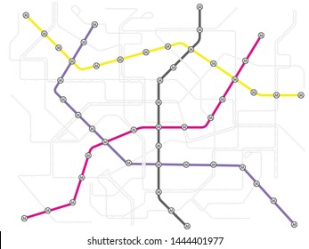 Colorful metro subway  and city bus transport map