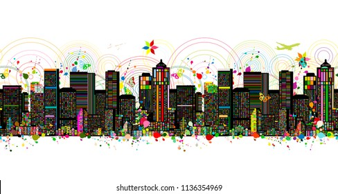 Colorful metropolis, seamless pattern for your design