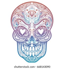 Colorful mexican decorative skull tattoo on white background. Vector illustration