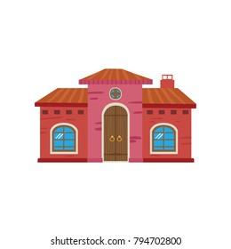 Colorful Mexican house, Mexico city facade cartoon vector Illustration