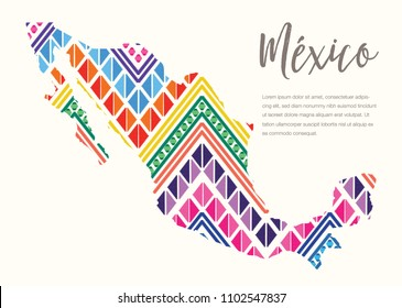 Colorful Mexican Map, Embroidery Style Composition – Copy Space