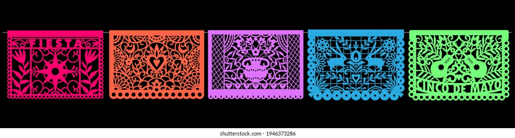 Colorful Mexican perforated papel picado banner.