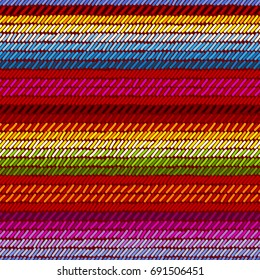 Colorful mexican serape blanket rug woven striped fabric seamless pattern, vector