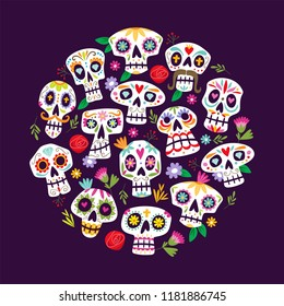 """Colorful mexican skulls background. Cute """"Dia de muertos"""" card. Mexican day of the death. Round shape pattern, perfect for backgrounds and greeting card designs."""