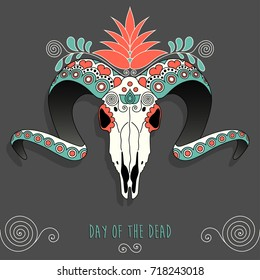 Colorful Mexican sugar goat skull. Day of the dead vector illustration.