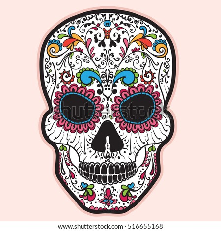 colorful mexican sugar skull day dead stock vector royalty free