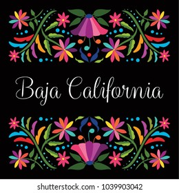 Colorful Mexican Traditional Textile Embroidery Style Floral Composition – Baja California State; México