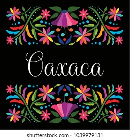 Colorful Mexican Traditional Textile Embroidery Style Floral Composition – Oaxaca State; México