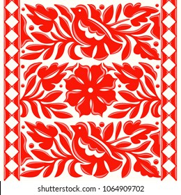 Colorful Mexican Traditional Textile Embroidery Style from Oaxaca; México –  Floral Composition with Birds
