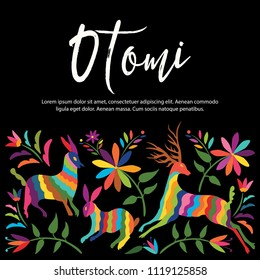 Colorful Mexican Traditional Textile Embroidery Style from Otomi Culture – Copy Space Floral Composition with Forest Animals