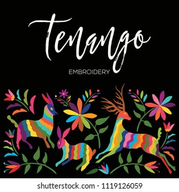Colorful Mexican Traditional Textile Embroidery Style from Tenango, Hidalgo; México – Copy Space Floral Composition with Forest Animals