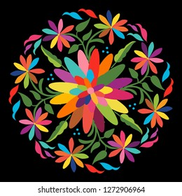 Colorful Mexican Traditional Textile Embroidery Style from Otomi Culture –  Floral Composition - Vector