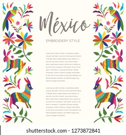 Colorful Mexican Traditional Textile Embroidery Style from Otomi Culture – Copy Space Floral Composition with Forest Animals - Vector