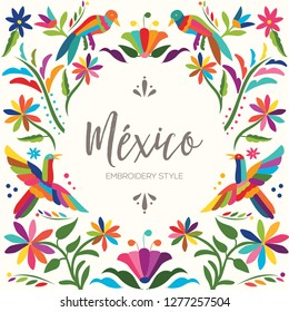 Colorful Mexican Traditional Textile Embroidery Style from Otomí Culture – Copy Space Floral Composition with Birds - Vector