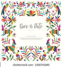 Colorful Mexican Traditional Textile Embroidery Style from Tenango, Hidalgo; México – Copy Space Floral Wedding Invitation