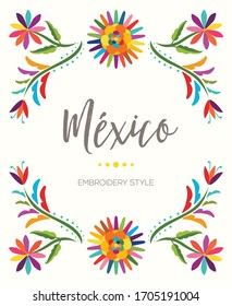 Colorful Mexican Traditional Textile Embroidery Style from Tenango, Hidalgo; México – Copy Space Floral Composition
