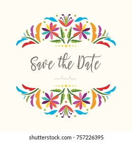Colorful Mexican Traditional Textile Embroidery Style from Tenango, Hidalgo; México - Save The Date Invitation