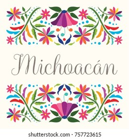 Colorful Mexican Traditional Textile Embroidery Style Floral Composition – Michoacán State; México