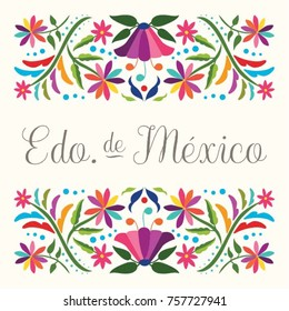 Colorful Mexican Traditional Textile Embroidery Style Floral Composition – Edo. de México (Mexico State in Spanish)