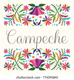 Colorful Mexican Traditional Textile Embroidery Style Floral Composition – Campeche State; México