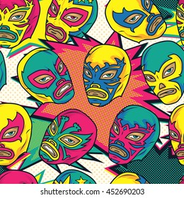 Colorful mexican wrestler / Luchador seamless vector pattern