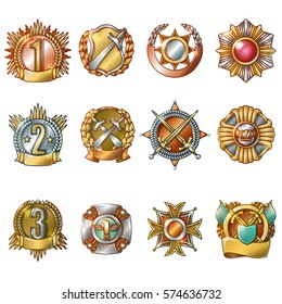 Colorful military awards collection of medals and badges of different shapes in cartoon style isolated vector illustration