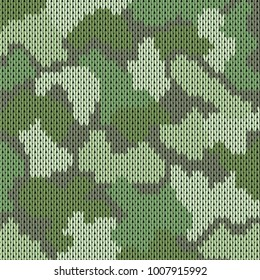 Colorful military decorative forest camouflage. Knitting khaki pattern. Vector illustration.