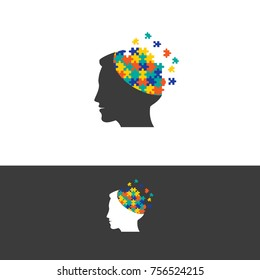 colorful Mind puzzle design in vector.