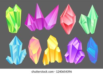 Colorful minerals set, crystals, gems, precious gemstones or semiprecious stones vector Illustration