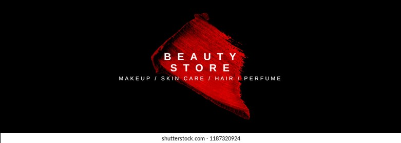 Colorful minimalist banner for beauty store. Advertising poster template for online shop. Realistic red lipstick smear isolated on black background. Vector illustration.