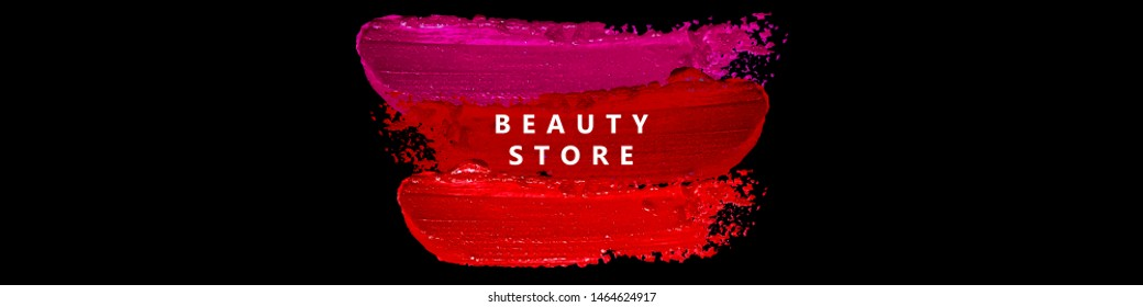 Colorful minimalist banner for beauty store. Advertising poster template for online shop. Realistic red, pink lipstick smears isolated on black background. Vector illustration.