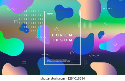 Colorful minimalistic geometric background with composition of fluid shapes in neon trendy pastel colors: electric pink, bright blue, cyan, magenta, Memphis aesthetics, retrofuturistic eclectic style.