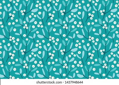 Colorful Mistletoe Pattern. Seamless Christmas Pattern.
