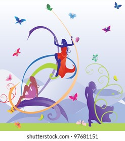 colorful models silhouettes with butterflies violet vector