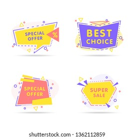 Colorful modern abstract vector banner in trendy style on white background. Presentation template design. Creative banner, label vector.
