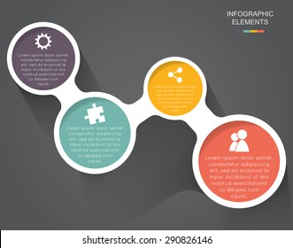 Colorful modern business circles with 4 step icons on the grey background.