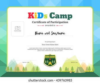 Colorful and modern certificate of participation template for kids activities or kids camp with camping background and photo space