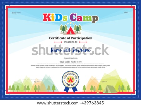 Colorful Modern Certificate Participation Template Kids Stock Vector
