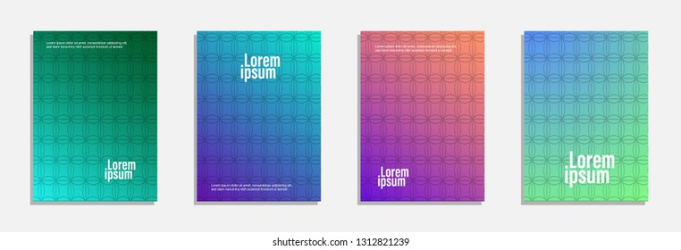 Colorful and modern cover design. Set of geometric pattern background design