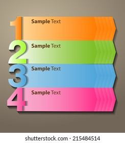 colorful modern creative design text box template for website graphic. numbers, icon.