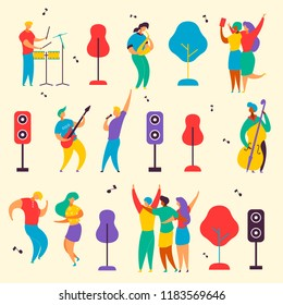 Colorful modern flat characters set for jazz,rock music fest concept-singer,musicians,guitar,sax,drums,double bass,loudspeakers. Happy people dancing,rejoice,making selfie on musical festival party