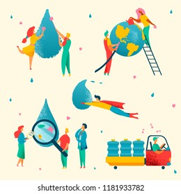 Colorful modern flat water cleaning,saving,conservation,analysis, Earth save ecology concept.Flat style characters,little people working-watering planet,washing,research,transport waterdrops